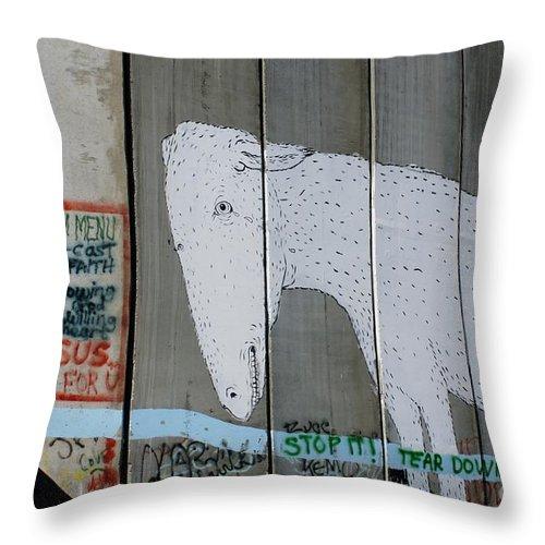 Bethlehem Throw Pillow featuring the photograph Bethlehem Separation Wall by David Birchall