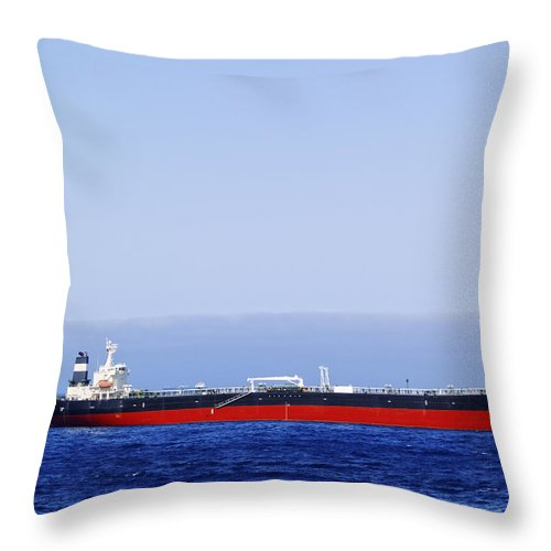 Sea Throw Pillow featuring the photograph Big Ship Non Atlantic Ocean by Karol Kozlowski