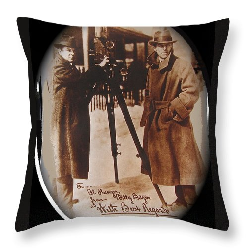 Billy Bitzer D.w. Griffith Pathe Camera Way Down East 1920 Throw Pillow featuring the photograph Billy Bitzer D.w. Griffith Pathe Camera Way Down East 1920-2013 by David Lee Guss