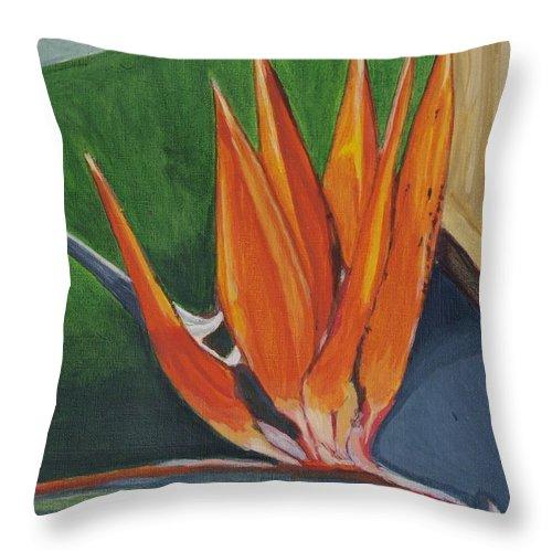 Bird Of Paradise Throw Pillow featuring the painting Bird Of Paradise by Vera Lysenko
