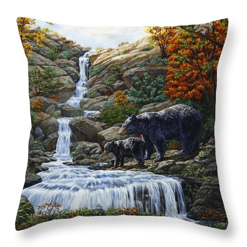 Bear Throw Pillow featuring the painting Black Bear Falls by Crista Forest