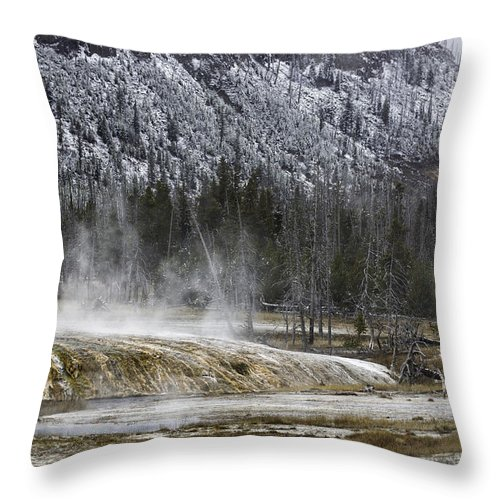 Snow Throw Pillow featuring the photograph Black Sand Basin by Carolyn Fox