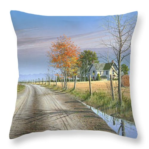 Landscape Throw Pillow featuring the painting Bless Thy Fertile Soil by Mike Brown