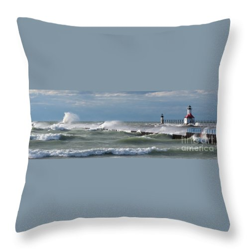 Lake Michigan Throw Pillow featuring the photograph Blow Wind Blow by Ann Horn