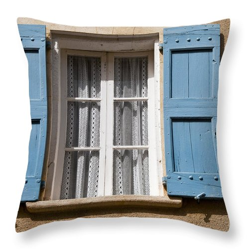 Lourmarin France Window Windows Shutter Shutters Curtain Curtain City Cities Village Villages Cityscape Cityscapes Provence Architecture Throw Pillow featuring the photograph Blue And White by Bob Phillips