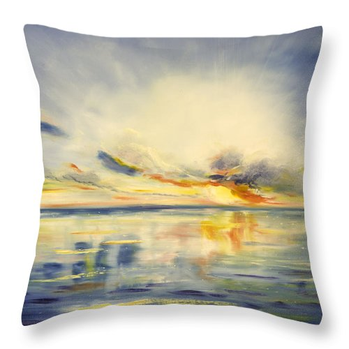 Blue Throw Pillow featuring the painting Blue Sunset by Gina De Gorna