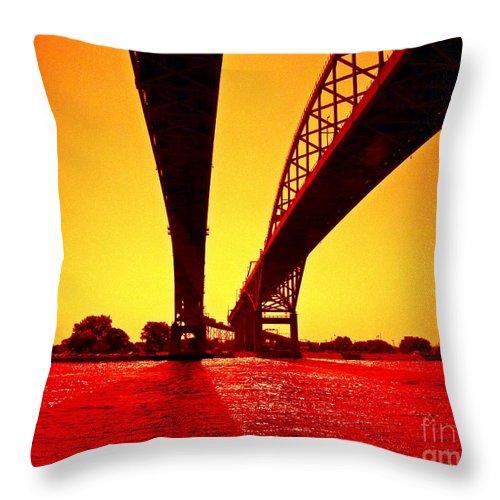 Blue Water Bridge Throw Pillow featuring the photograph Blue Water Bridge by Randy J Heath