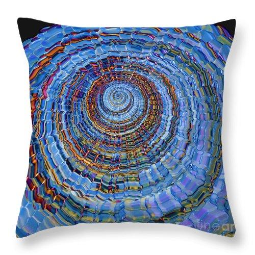 Spiral Throw Pillow featuring the digital art Blue World by Deborah Benoit