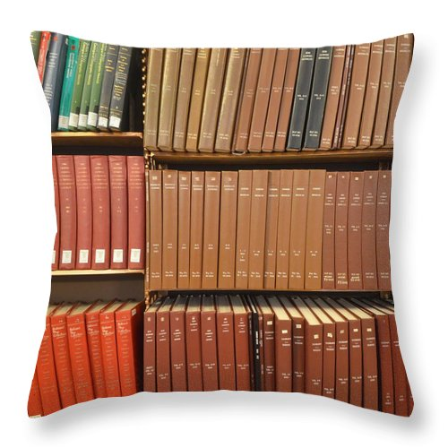 Bookshelf Throw Pillow featuring the photograph Bookshelves by Philip Ralley