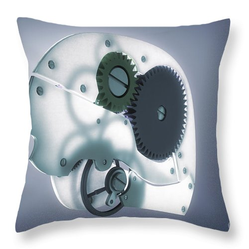3d Visualisation Throw Pillow featuring the photograph Brain Mechanism by Science Picture Co