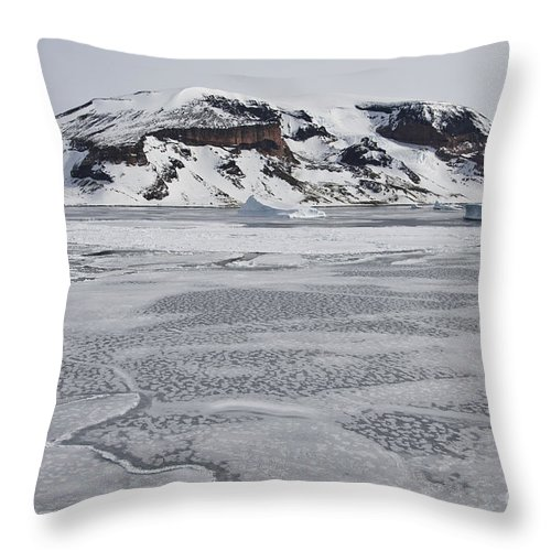 Pack Ice Throw Pillow featuring the photograph Brown Bluff, Antarctica by John Shaw