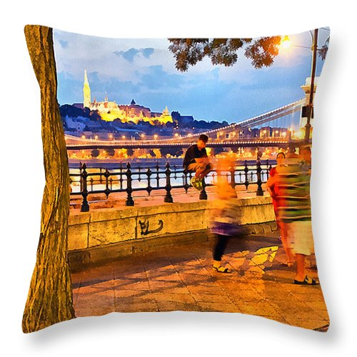 Budapest Throw Pillow featuring the painting Budapest By Night Paint by Odon Czintos