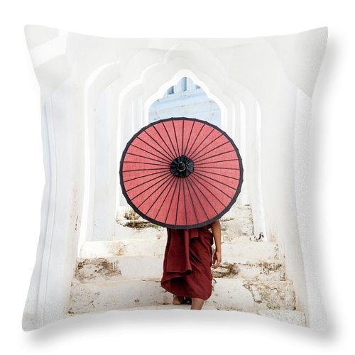 Steps Throw Pillow featuring the photograph Buddhist Monk Walking Along Temple by Martin Puddy