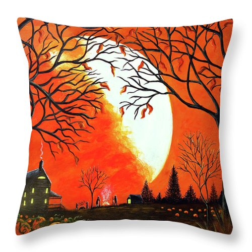 Autumn Throw Pillow featuring the painting Burning Leaves by Christine Altmann