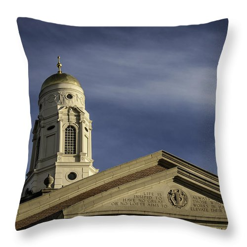 Hartford Throw Pillow featuring the photograph Hartford Bushnell Memorial Inscription by Phil Cardamone