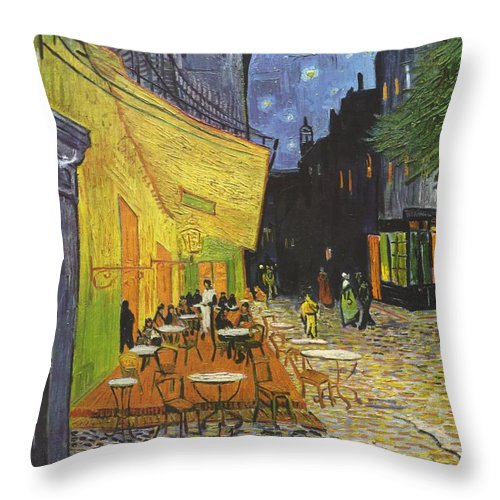 Vincent Van Gogh Throw Pillow featuring the painting Cafe Terrace At Night by Vincent van Gogh