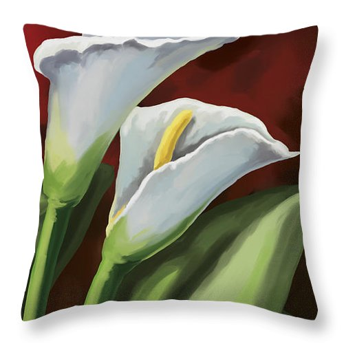 Calla Lilies Throw Pillow featuring the painting Calla Lilies by Tim Gilliland