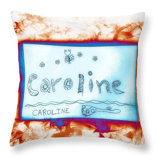 Names Throw Pillow featuring the photograph Caroline by GOLDA Zehava TALOR