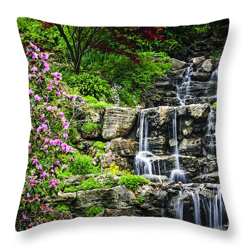 Waterfall Throw Pillow featuring the photograph Cascading Waterfall by Elena Elisseeva