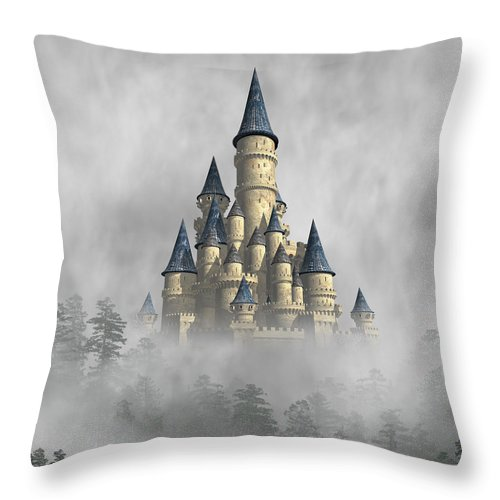 Fantasy Throw Pillow featuring the digital art Castle In The Clouds by David Griffith