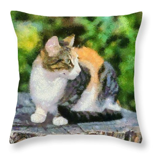 Cat; Cats; Feline; Tabby; Animal; Sit; Sitting; Rest; Resting; Free; Alone; Greece; Hellas; Greek; Hellenic; Athens Throw Pillow featuring the painting Cat On Tree Trunk by George Atsametakis