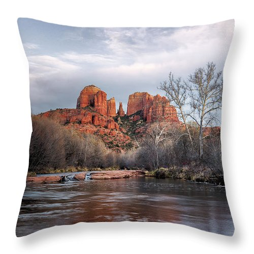 Sedona Throw Pillow featuring the photograph Cathedral Rocks Sunset by Larry Pollock