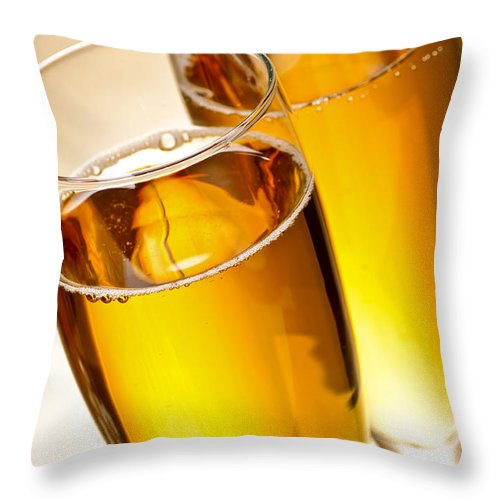Champagne Throw Pillow featuring the photograph Champagne In Glasses by Elena Elisseeva