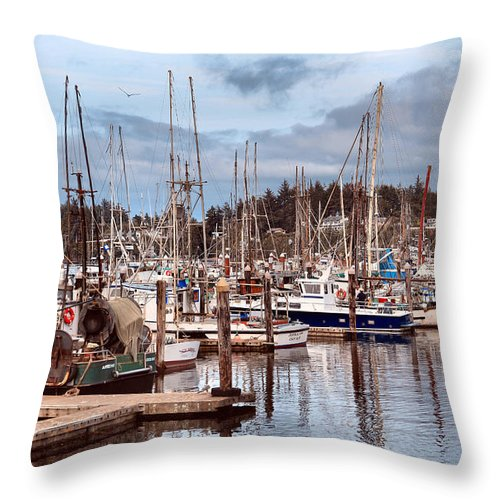 Charleston Throw Pillow featuring the photograph Charleston Marina Fishing Boats by Sally Bauer