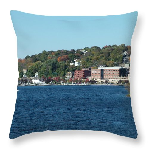 Landscape Throw Pillow featuring the photograph Chelsea Harbor In Fall by Geoffrey McLean