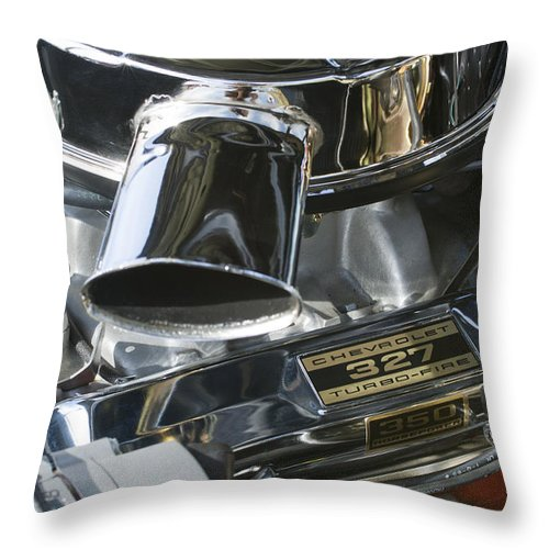Chevy Engine Throw Pillow featuring the photograph Chevrolet Engine by Jill Reger