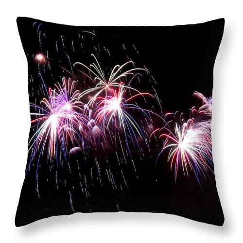 Firework Display Throw Pillow featuring the photograph Chicago Fireworks by 400tmax