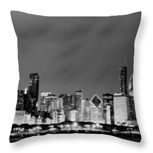 Chicago Skyline Throw Pillow featuring the photograph Chicago Skyline At Night In Black And White by Sebastian Musial