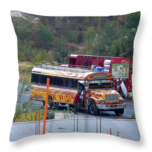 Bus Throw Pillow featuring the photograph Chicken Bus In El Tizate by Nicki Bennett