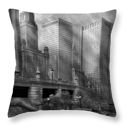 Chicago Throw Pillow featuring the photograph City - Chicago Il - Continuing A Legacy by Mike Savad