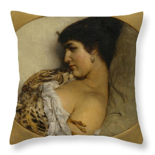 Lawrence Alma-tadema Throw Pillow featuring the painting Cleopatra by Lawrence Alma-Tadema