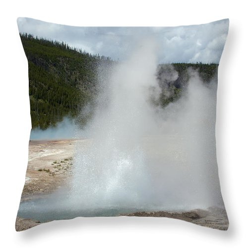 Cliff Geyser Throw Pillow featuring the photograph Cliff Geyser by Scott Sanders