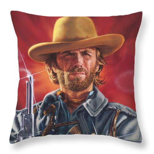Clint Eastwood Throw Pillow For Sale By Dick Bobnick