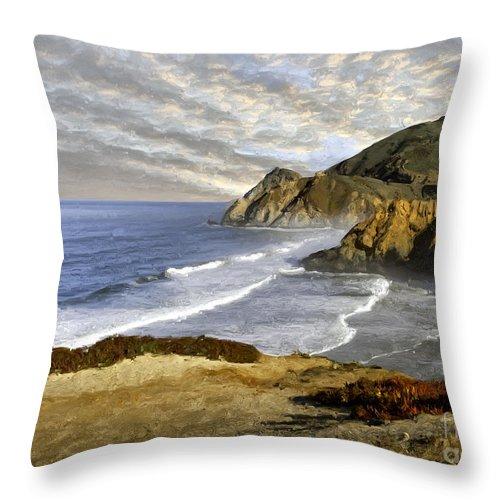 California Throw Pillow featuring the photograph Coastal Beauty Impasto by Sharon Foster