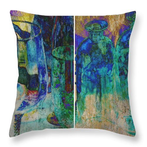 Collage; Colorful; Glass Bottles; Glass; Photoshop; Abstract; Blue; Orange; Throw Pillow featuring the photograph Collage by Werner Lehmann
