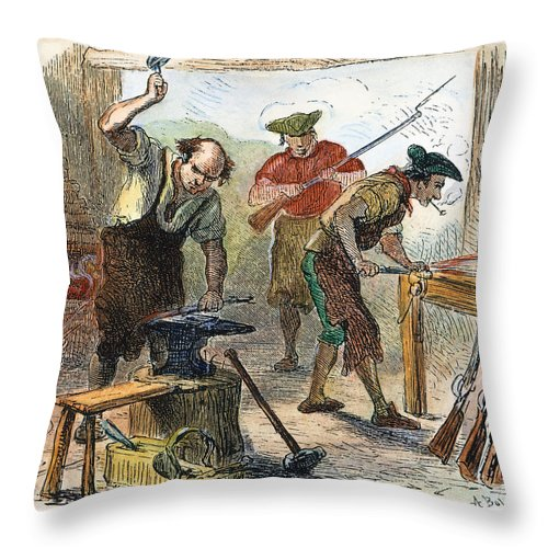 1770s Throw Pillow featuring the photograph Colonial Blacksmith, 1776 by Granger