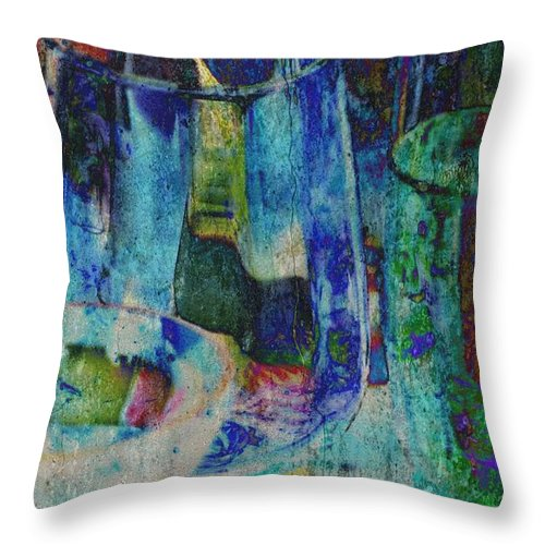 Close Up; Colorful; Color; Glass; Glasses; Blue; Yellow; Reflection; Decorative; Background; Vase; Bottle; Photoshop; Abstract; Throw Pillow featuring the photograph Colorful Glass by Werner Lehmann