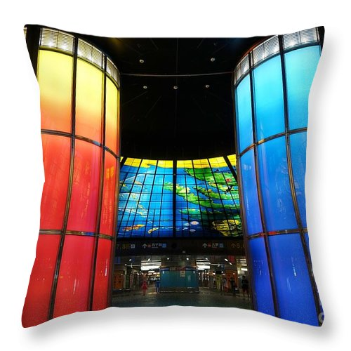 Kaohsiung Throw Pillow featuring the photograph Colorful Glass Work Ceiling And Columns by Yali Shi