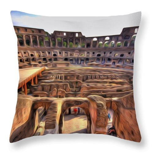 Amphitheater Throw Pillow featuring the painting Colosseum In Rome by Jeelan Clark