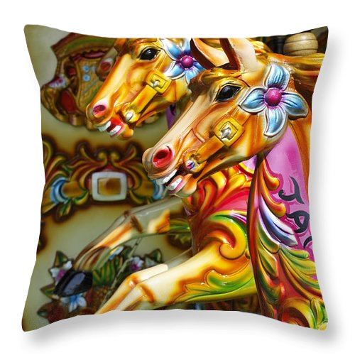 Fairground Horse Throw Pillow featuring the photograph Colourful Fariground Horses On A Carousel by Robert Preston