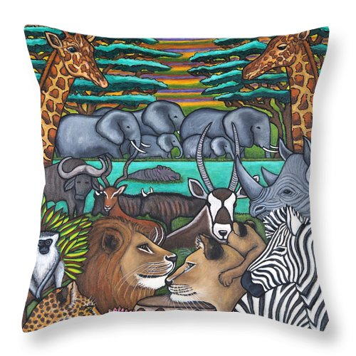 Africa Throw Pillow featuring the painting Colours of Africa by Lisa Lorenz
