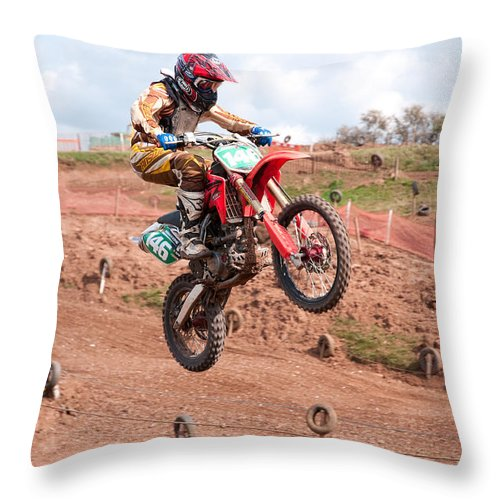 Motorcross Throw Pillow featuring the photograph Coming Down by Roy Pedersen