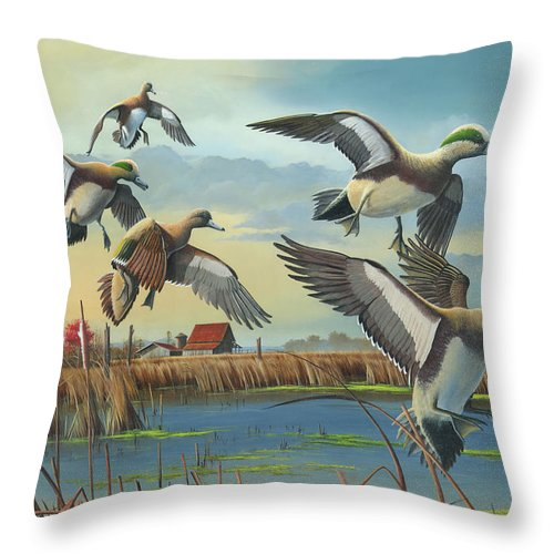 American Wigeons Throw Pillow featuring the painting Coming Home by Mike Brown