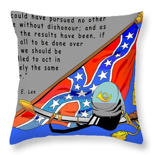 Digital Creation Throw Pillow featuring the digital art Confederate States Of America Robert E Lee by Digital Creation