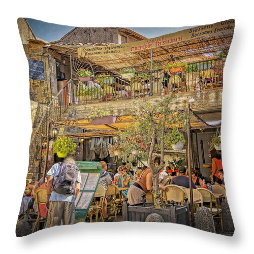 Creperie Throw Pillow featuring the photograph Creperie Restaurant Carcassonne Dsc01697 by Greg Kluempers