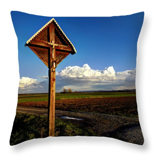 Agricultural Throw Pillow featuring the photograph Cross by Ivan Slosar